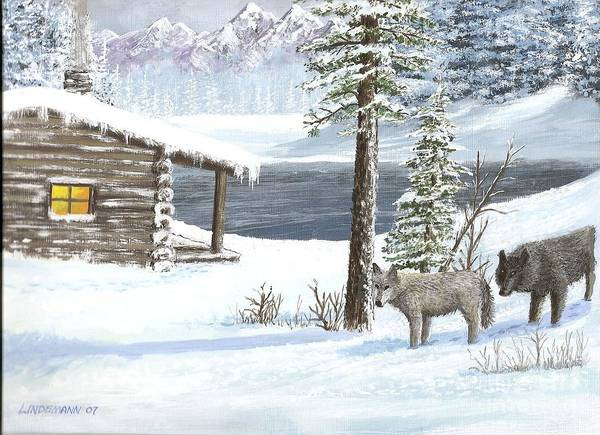 Wolfs Poster featuring the painting Wolfs In Winter by Don Lindemann