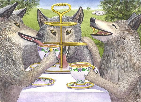 Wolf Poster featuring the painting Wolves Tea Party by Catherine G McElroy
