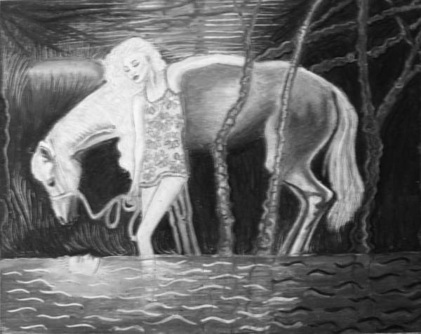Original Pastel Poster featuring the painting Woman And Horse And River by Monica Smith