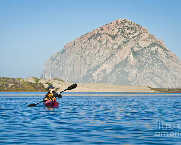 Active Poster featuring the photograph Woman Kayaking In Morro Bay by Bill Brennan - Printscapes