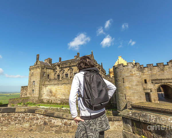 Stirling Castle Poster featuring the photograph Woman Looks The Stirling Castle by Benny Marty
