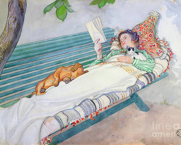 Woman Poster featuring the painting Woman Lying On A Bench by Carl Larsson