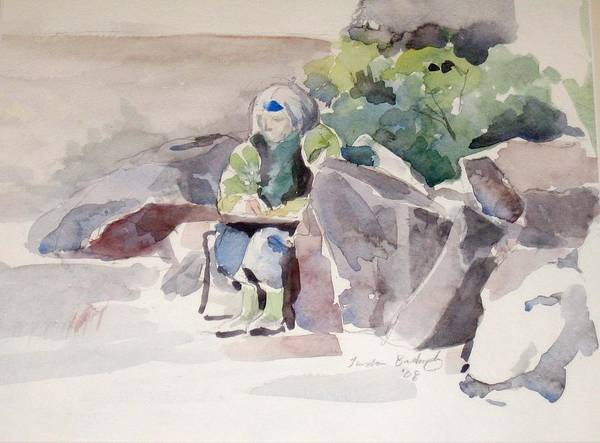 Landscape Poster featuring the painting Woman Of The Rocks by Linda Berkowitz
