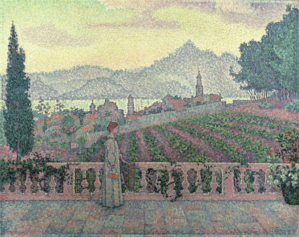 Woman Poster featuring the painting Woman On The Terrace by Paul Signac