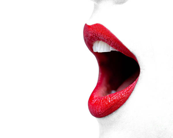 Womans Mouth Wide Open With Red Lipstick Poster By