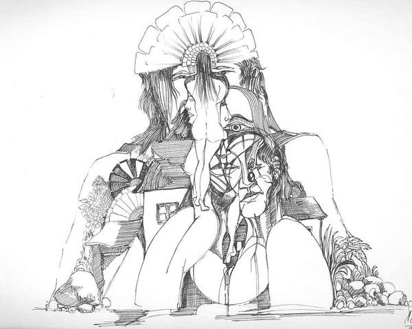 Surreal Poster featuring the drawing Women Heads And A Rock by Padamvir Singh