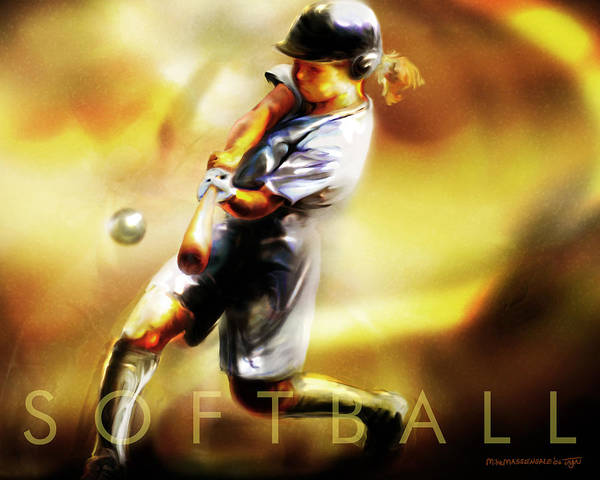 Softball Poster featuring the painting Women In Sports - Softball by Mike Massengale