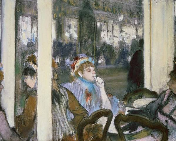 Women On A Cafe Terrace Poster featuring the pastel Women On A Cafe Terrace by Edgar Degas