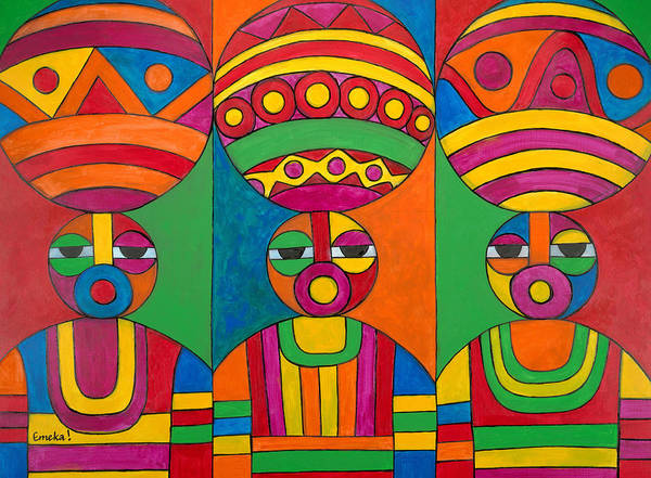 Abstract Poster featuring the painting Women With Calabashes by Emeka Okoro