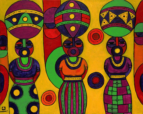 Women Poster featuring the painting Women With Calabashes II by Emeka Okoro