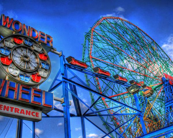 Wonder Wheel Poster featuring the photograph Wonder Wheel by Bryan Hochman