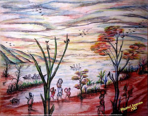 Wooded Poster featuring the painting Wooded Beachfront With Fun Seekers by Mbonu Emerem
