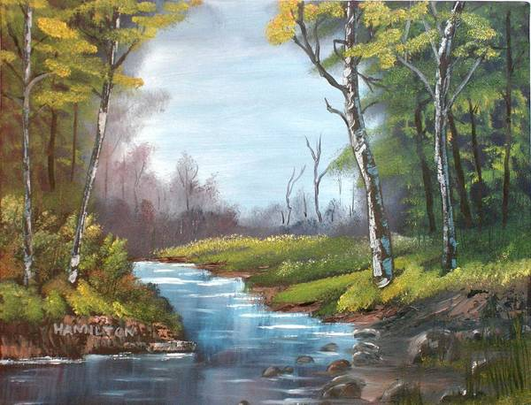 Oil Poster featuring the painting Wooded Stream by Larry Hamilton