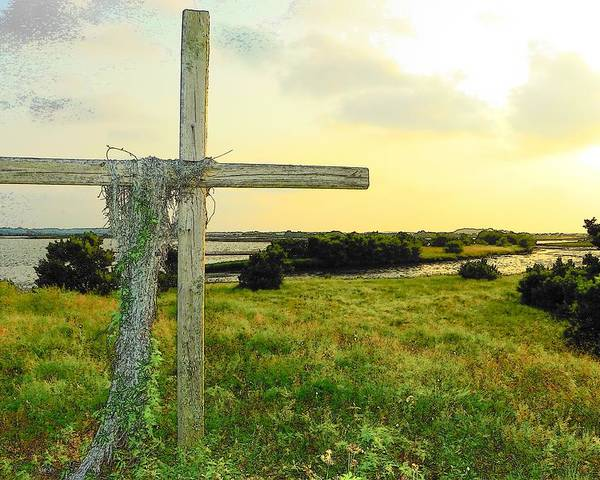 Cedar Key Poster featuring the photograph Wooden Cross 1 by Sheri McLeroy