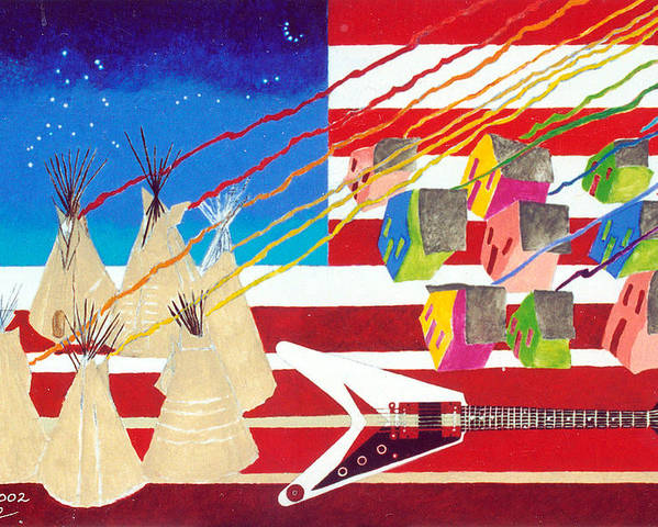 American Flag Poster featuring the painting Woodstock Nation by Sharron Loree