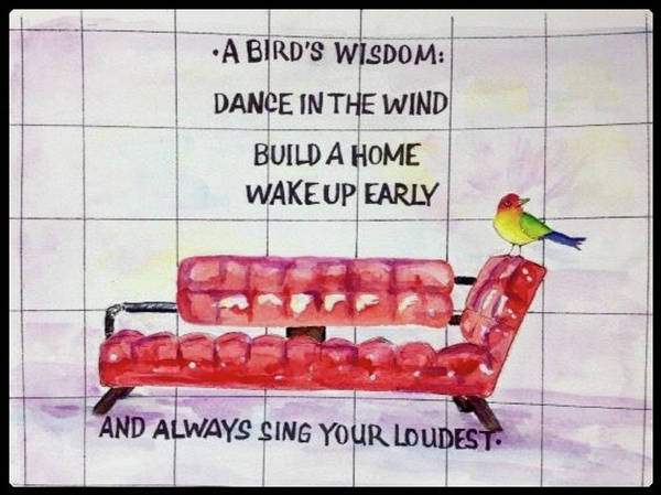 Chair Poster featuring the painting A Birds Wisdom by Bonny Butler