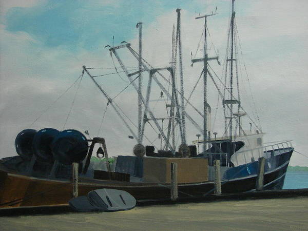 Boat Shrimpboat Work Boat Poster featuring the painting Work Boat At Rest by Robert Rohrich