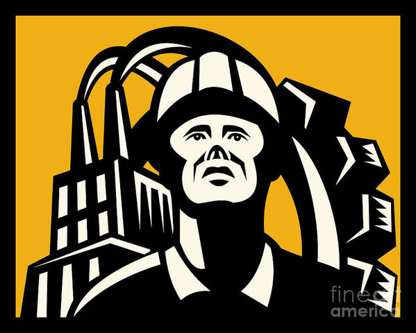 Worker Poster featuring the digital art Worker Factory Building by Aloysius Patrimonio