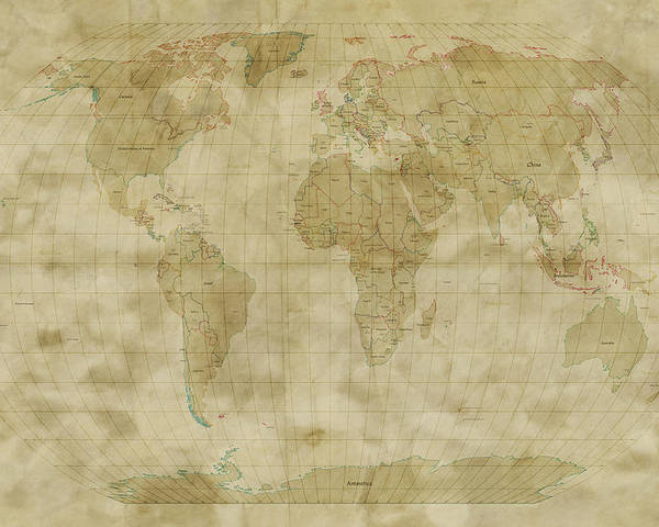 Map Of The World Poster featuring the digital art World Map Antique Style by Michael Tompsett