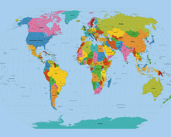 Map Of The World Poster featuring the digital art World Map Bright by Michael Tompsett