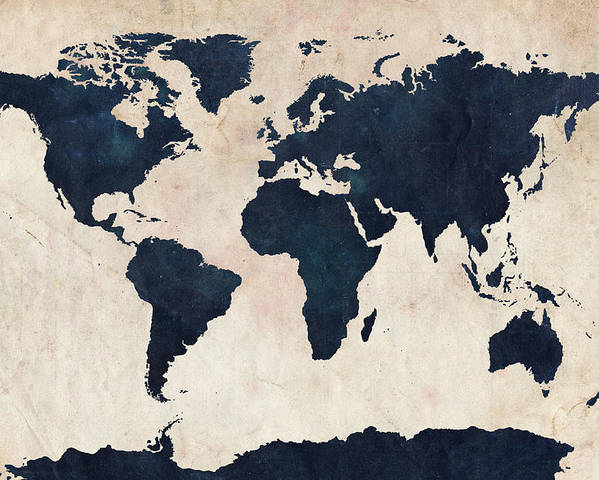 Map Of The World Poster featuring the digital art World Map Distressed Navy by Michael Tompsett