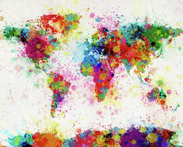 World Map Paint Splashes Poster featuring the digital art World Map Paint Drop by Michael Tompsett