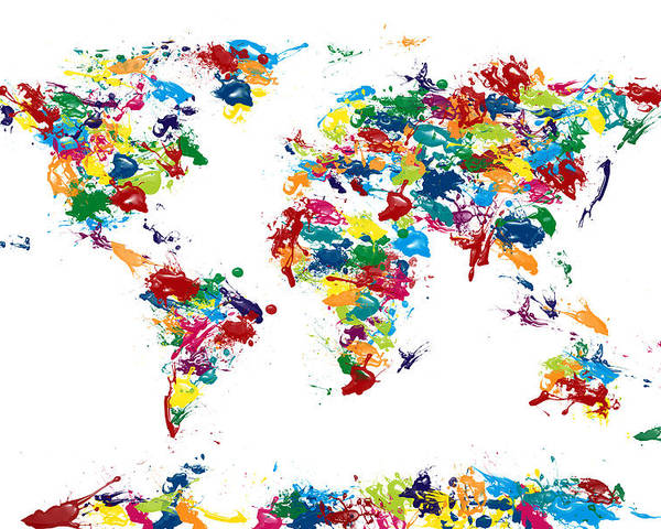 Map Of The World Poster featuring the digital art World Map Paint Drops by Michael Tompsett