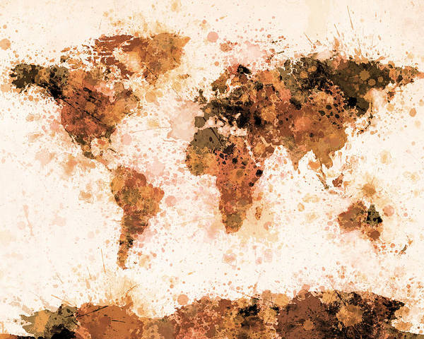 Map Of The World Poster featuring the digital art World Map Paint Splashes Bronze by Michael Tompsett