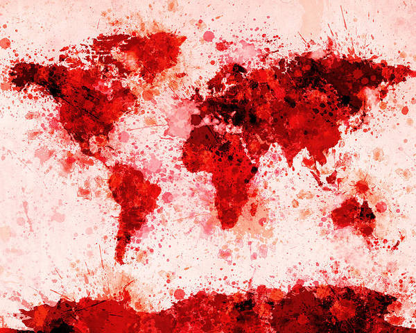 Map Of The World Poster featuring the digital art World Map Paint Splashes Red by Michael Tompsett