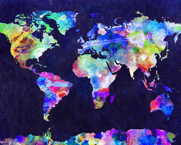 Map Of The World Poster featuring the digital art World Map Urban Watercolor by Michael Tompsett