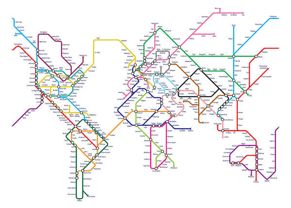 World metro tube map poster by michael tompsett world map poster featuring the digital art world metro tube map by michael tompsett gumiabroncs Choice Image