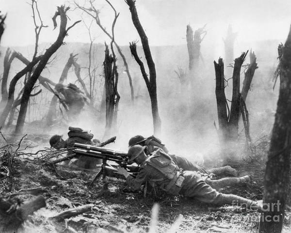 1918 Poster featuring the photograph World War I: Battlefield by Granger