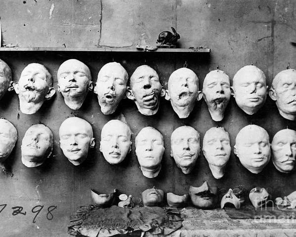 1918 Poster featuring the photograph World War I Masks, 1918 by Granger