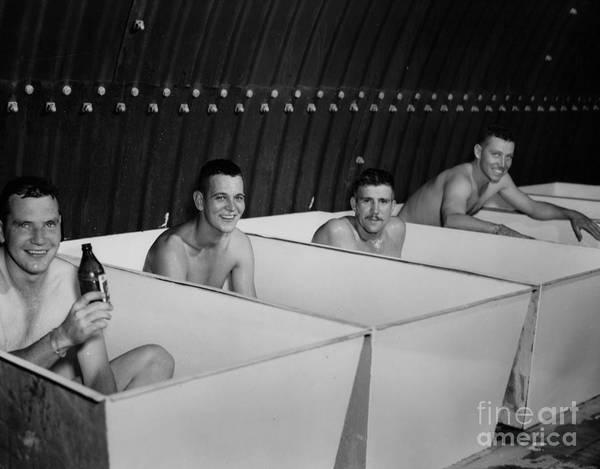 World War Ii Bath Time For Guys Poster featuring the photograph World War II Bath Time For Guys by R Muirhead Art