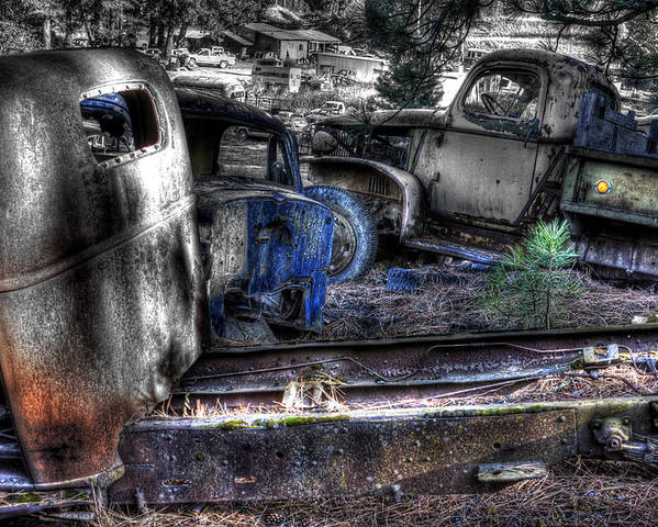 Automotive Poster featuring the photograph Wrecking Yard Study 12 by Lee Santa