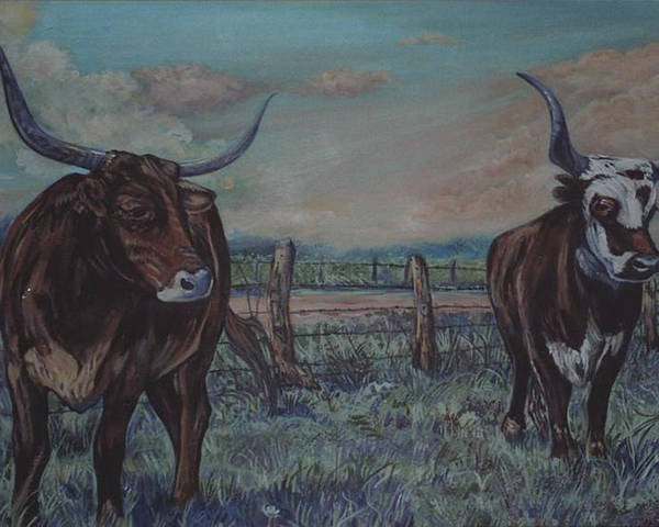 Animals Poster featuring the painting Wright Longhorns by Diann Baggett