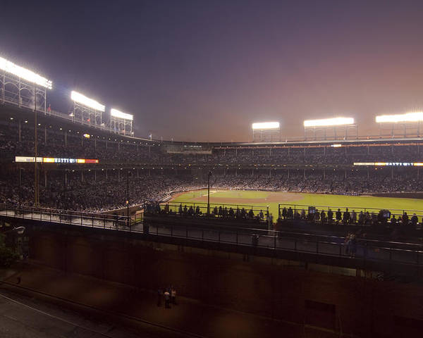 Cubs Poster featuring the photograph Wrigley Field At Dusk 2 by Sven Brogren