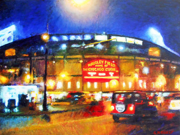 Chicago Poster featuring the painting Wrigley Field Home Of Chicago Cubs by Michael Durst