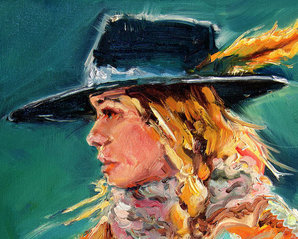 Cowgirl Poster featuring the painting Wyoming Cowgirl Close by Diane Whitehead