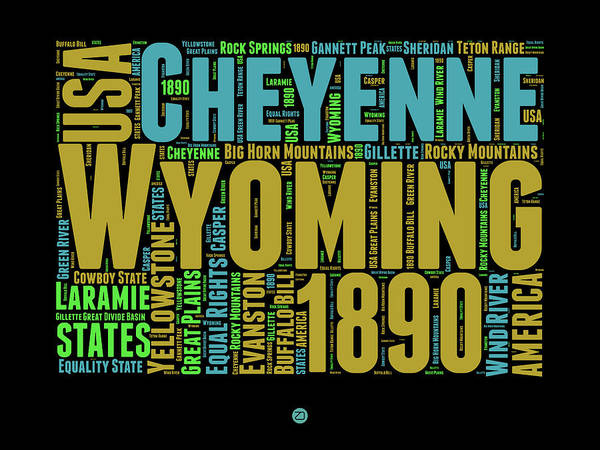 Wyoming Poster featuring the digital art Wyoming Word Cloud Map 1 by Naxart Studio