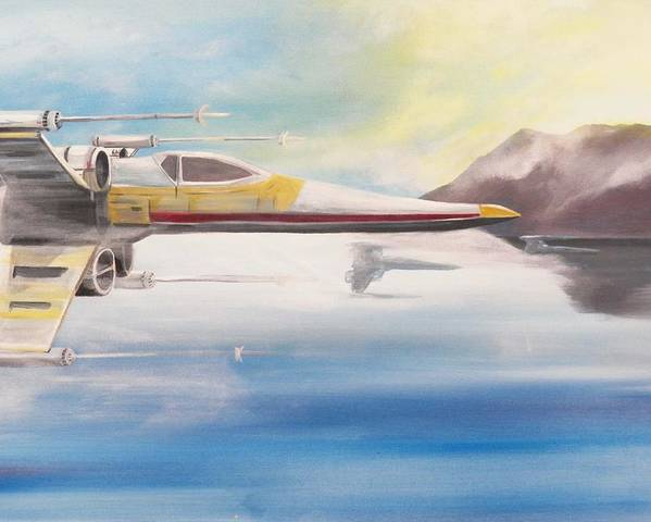 Star Wars Poster featuring the painting X Wing Fighter by Jay Ybarra