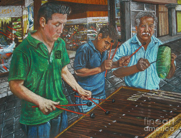 Impressionistic Poster featuring the painting Xylophone Players by Jim Barber Hove