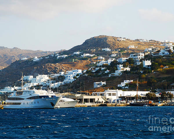 Patmos Poster featuring the photograph Yachts Docked At Port Skala Greece On Patmos Island by Just Eclectic