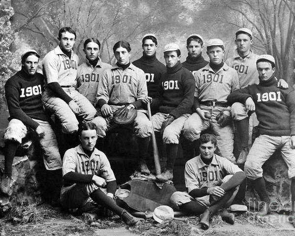 1901 Poster featuring the photograph Yale Baseball Team, 1901 by Granger