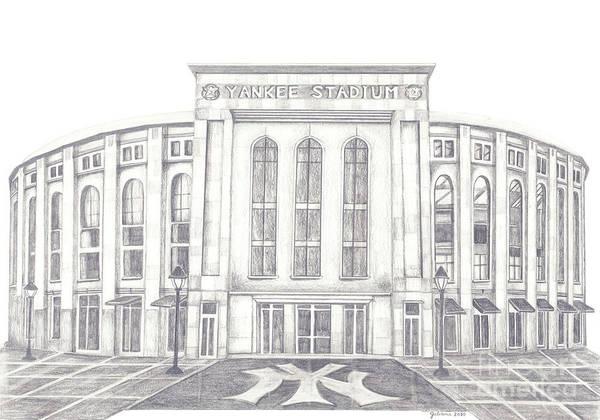 Yankee Stadium Poster featuring the drawing Yankee Stadium by Juliana Dube