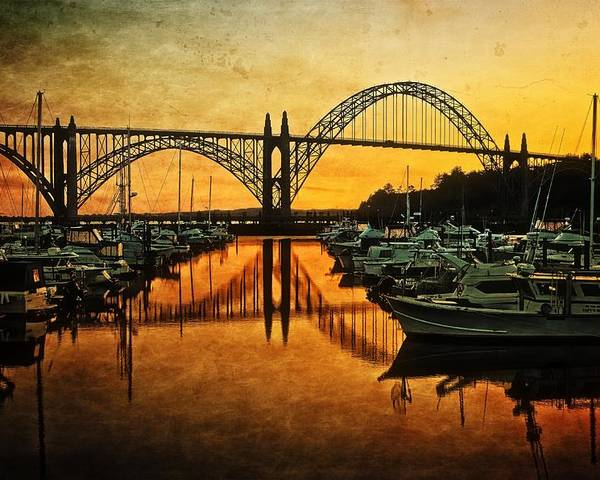 Reflections Poster featuring the photograph Yaquina Bay Reflections by Thom Zehrfeld