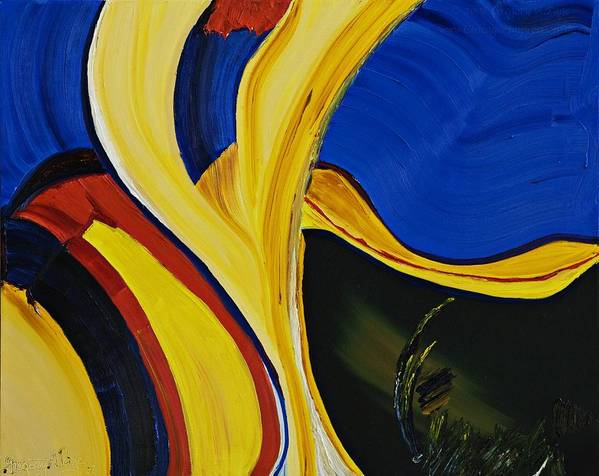Abstract Oil Painting Poster featuring the painting Yellow Abstract by Gregory Allen Page