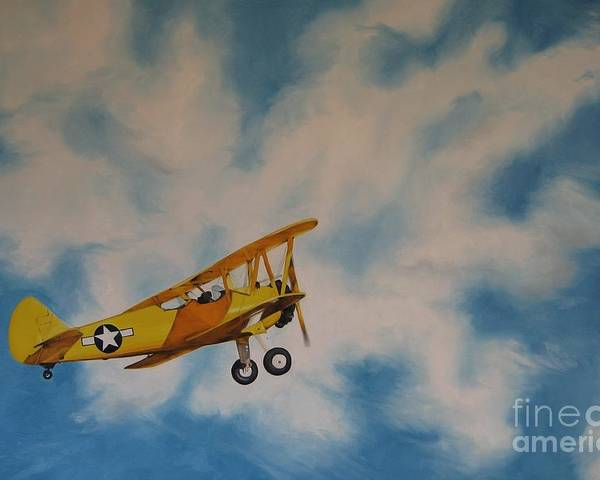 Noewi Poster featuring the painting Yellow Airplane by Jindra Noewi