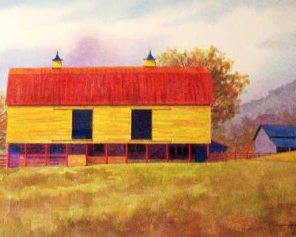 Landscape Poster featuring the painting Yellow Barn by Hugh Harris