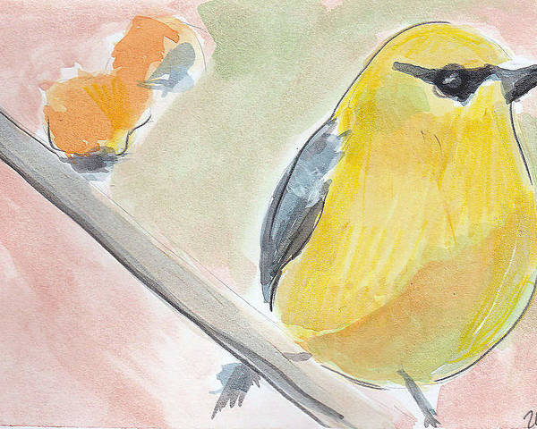 Bird Poster featuring the painting Yellow bird by Loretta Nash